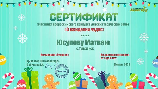 Сертификат Юсупов Матвей